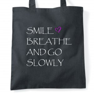 smile and breathe tote bag