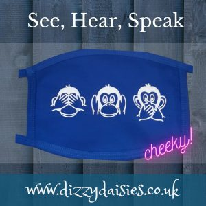 three wise monkeys face mask