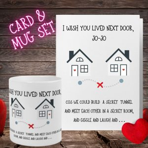 wish you lived next door mug and card set