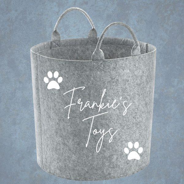 personalised dog basket paws