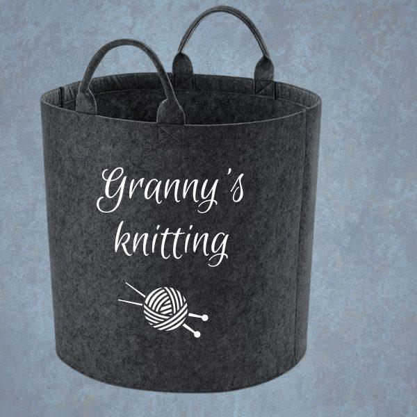 personalised knitting basket